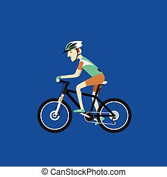 A biker riding a mountain bike - Flat design vector...