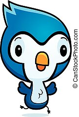 Cartoon Bluejay Running - A cartoon illustration of a baby...