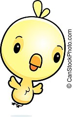 Cartoon Baby Chick Flying - A cartoon illustration of a baby...