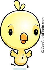 Cartoon Baby Chick Running - A cartoon illustration of a...
