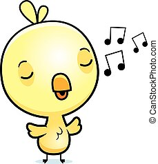 Cartoon Baby Chick Singing - A cartoon illustration of a...
