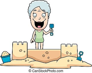 Woman Sandcastle - A cartoon illustration of a woman...