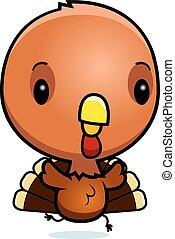 Cartoon Baby Turkey Running - A cartoon illustration of a...