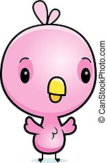 Cartoon Baby Pink Bird - A cartoon illustration of a baby...