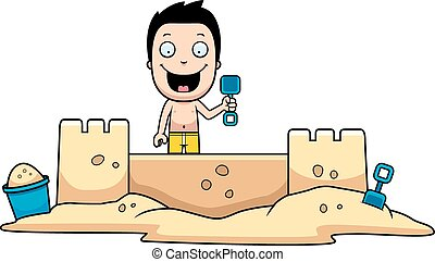 Boy Sandcastle - A cartoon illustration of a boy building a...