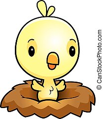 Cartoon Baby Chick Nest - A cartoon illustration of a baby...