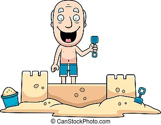 Man Sandcastle - A cartoon illustration of a man building a...