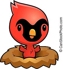 Cartoon Cardinal Nest - A cartoon illustration of a baby...