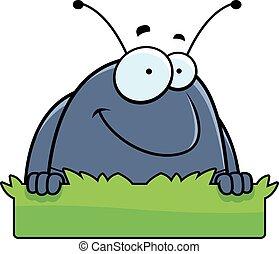 Cartoon Pill Bug Grass Sign - A cartoon illustration of a...