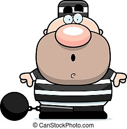 Cartoon Surprised Prisoner - A cartoon illustration of a...