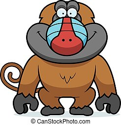 Cartoon Baboon - A cartoon illustration of a baboon smiling.