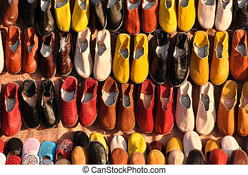 Colorful shoes for sale in Marrakech, Morocco