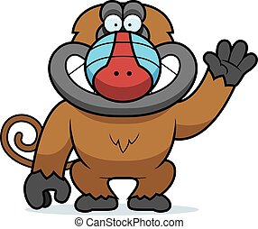 Cartoon Baboon Waving - A cartoon illustration of a baboon...