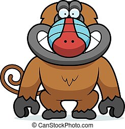 Cartoon Baboon Grin - A cartoon illustration of a baboon...