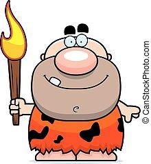 caricatura, Cavernícola, fuego,