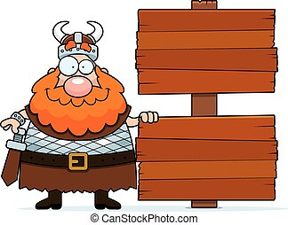 Cartoon Viking Sign - A cartoon illustration of a Viking...
