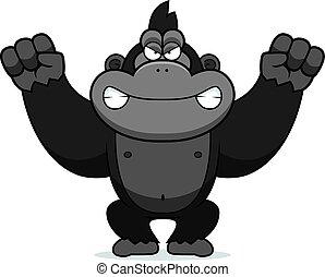 Angry Cartoon Gorilla - A cartoon illustration of an angry...