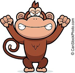 Angry Cartoon Monkey - A cartoon illustration of an angry...