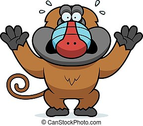 Cartoon Baboon Panicking - A cartoon illustration of a...