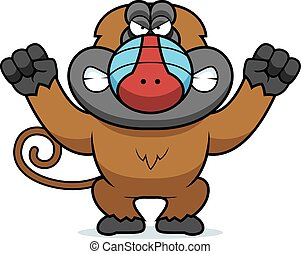 Angry Cartoon Baboon - A cartoon illustration of an angry...