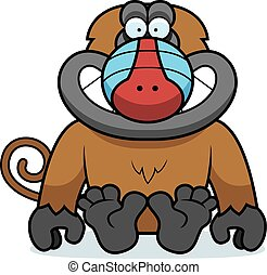 Cartoon Baboon Sitting - A cartoon illustration of a baboon...