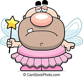 Cartoon Sad Tooth Fairy - A cartoon illustration of a tooth...