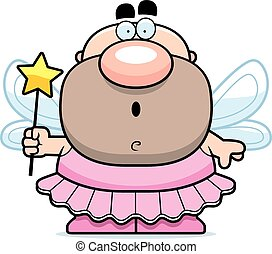 Cartoon Surprised Tooth Fairy - A cartoon illustration of a...