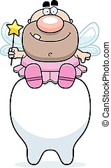 Cartoon Tooth Fairy Sitting - A cartoon illustration of a...