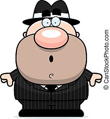 Surprised Cartoon Mobster - A cartoon illustration of a...