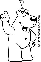 Polar Bear Idea - A happy cartoon polar bear with an idea