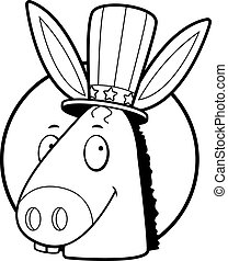 Democrat Donkey - A cartoon icon with a democratic donkey...