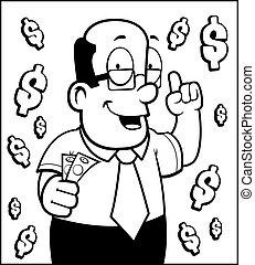 Man Money - A cartoon man talking about money.