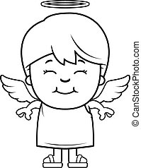 Boy Angel - A cartoon illustration of a boy angel standing...