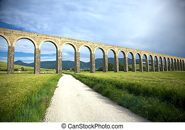 roman aqueduct in pamplona - roman aqueduct at pamplona city...