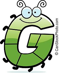 cartone animato, lettera, g, insetto,