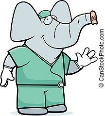 Cartoon Elephant Doctor - A cartoon illustration of an...