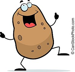 Cartoon Potato Dancing - A cartoon illustration of a potato...