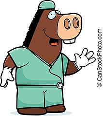 Cartoon Donkey Doctor - A cartoon illustration of an donkey...