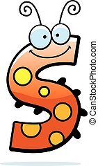 Cartoon Letter S Bug - A cartoon illustration of the letter...