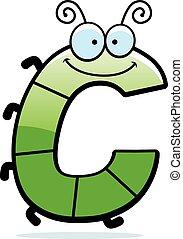 cartone animato, lettera, c, insetto,