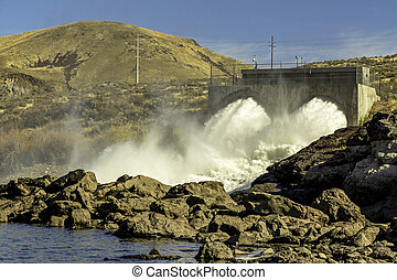 Hydroelectric Dam near Boise Idaho - Water jets from a dam...