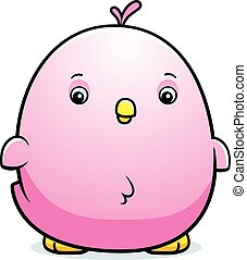 Cartoon Baby Pink Parakeet - A cartoon illustration of a...
