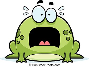 Scared Little Frog - A cartoon illustration of a frog...