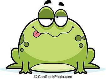 Drunk Little Frog - A cartoon illustration of a frog looking...