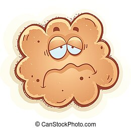 Sad Cartoon Fart - A cartoon illustration of a fart with a...