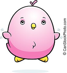 Cartoon Baby Pink Parakeet Fly - A cartoon illustration of a...