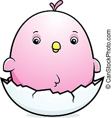 Cartoon Baby Pink Parakeet Egg - A cartoon illustration of a...