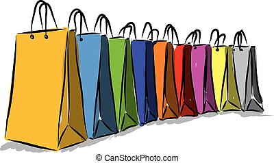 shopping colors bags illustration
