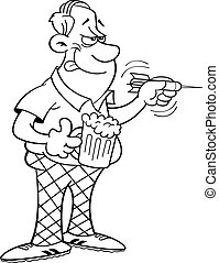 Cartoon man throwing a dart. - Black and white illustration...