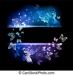 banner with glowing butterflies - rectangular black banner...